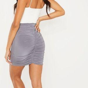 PrettyLittleThing Skirts - Grey silver slinky ruched seam skirt